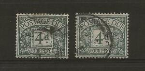 POSTAGE DUES 1914 TWO FOURPENCE DULL GREY-GREENS FINE USED LIGHT & DARK SHADES.