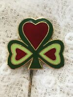 1980s Cloisonné Enamel Trefoil Stickpin Brooch Retro Vintage Red and Green