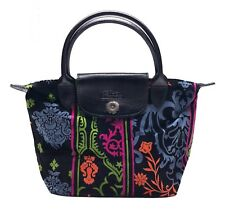 100% Authentic Longchamp Floral Velour Carpet Velvet Mini Top Handle Bag