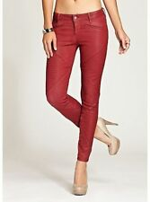 New Women's sz 23 GUESS Brittney Diamond Panel Mid Rise Legging Jeans RED COATED