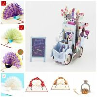 Folding Origami Happy Birthday 3D Greeting Cards Ferris Wheel Handmade Pop Up