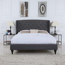 Classic Dark Grey Box-Tufted Shelter Bed Frame - Full