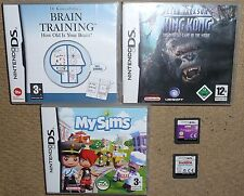 JOB LOT 5 NINTENDO DS DSI GAMES My Sims Fashion Designer Skater King Kong Brain