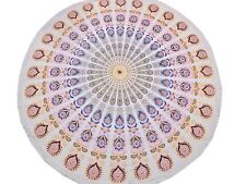 """Boho Peacock Tail Fan Round Tablecloth Cotton Fringed Table Overlay Topper 70"""""""