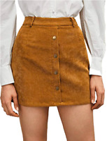 WDIRARA Womens Corduroy A-line Button Front Mini Skirt Size S - Brown