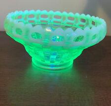 Fenton Vaseline Green Opalescent Basket Weave 2 Row Open Edge Candy Dish Bowl