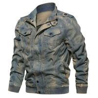 Spring Autumn Mens Vintage Denim Jacket Bomber Army Tactical Jacket Cowboy Coats