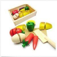 Kids Role Play Kitchen Children Wooden Fruit Vegetable Food Cutting Toy Set RU