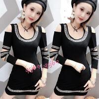 Sexy Punk Womens Off Shoulder Rivets Bodycon Dress Gothic Praty Rock Shirt Dress