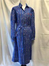 Vintage Katie Lewis blue shirt waist dress size 18 belted pocketed rockabilly