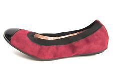 Clorinda Antinori Ballet Flats Burgundy Suede with Black Patent Toe Size 7