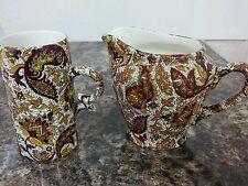 Lovely Vintage Ceylon Ceramics Red/Brown Paisley-Like Pattern Jug + Mug