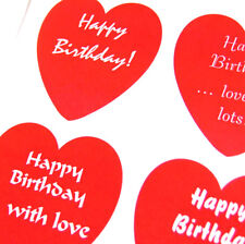 Happy Birthday Greeting, Heart Stickers, Labels. For Cards, Gifts, Envelopes