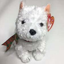 "fd39570137d TY Beanie Baby ""Kirby"" White Scottie Terrier Plush Bow Dog Mint Tag Retired  2001"