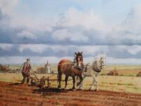 WATERCOLOUR  THE PLOWING LISTED ARTIST DAVID HARBOUR   FREE SHIPPING TO ENGLAND
