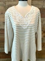 ALFRED DUNNER WOMAN 3X Plus Tan/White/Gold-Stripe 3/4-Sleeve Lace Top Shirt NWOT