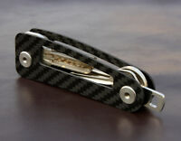 Carbon fiber Compact Key Holder Keys Cage Organizer Case Keychain Ring Creative