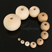 10X Rondell Round Wood Bead Spacer Natural Unfinished Wooden Necklace 4-30mm DIY