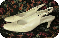 "Naturalizer Adelle Slingbacks 7M Ivory Leather 2"" Heel"