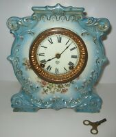 "ANTIQUE ANSONIA ""TRAM"" PORCELAIN CLOCK 8-DAY, TIME/STRIKE, KEY-WIND"