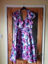 CELESTINE PINK LILY PRINT SWING DRESS SIZE 14 BY LINDYBOP