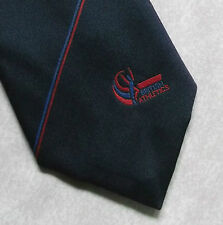 BRITISH ATHLETICS TIE VINTAGE RETRO NAVY RED TOYE KENNING SPENCER 1990s STRIPED