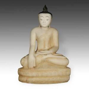 SEATED FIGURE OF BUDDHA BHUMISPARSHA MUDRA CARVED MARBLE PIGMENT BURMA 20TH C.