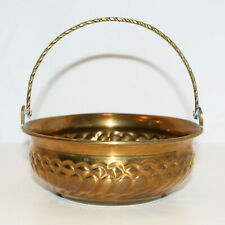 Vintage Brass Bowl / Basket With Handle Made In India