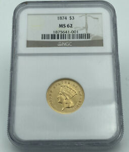 1874 NGC MS62 $3 Gold Indian Princess Stunning Luster