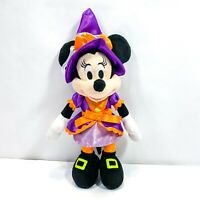 "Disney Parks Minnie Mouse Witch Halloween Plush Purple Orange  10"" Stuffed Toy"