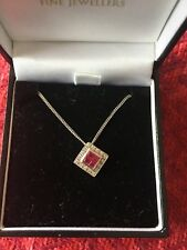 Ruby and diamond necklace in 18 carat white gold