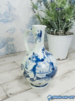 VINTAGE DELFT BLUE AND WHITE VASE PITCHER JUG SHABBY CHIC INTERIOR DESIGN