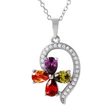 925 Sterling Silver ladies Multi-Color Flower Shaped necklace pendant / 17 inch