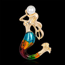 Fashion Jewelry Swimming Mermaid with Pearl Gold Plated Women Scarf Pin & Brooch