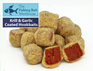 Krill & Garlic Coated Hookbaits, Drilled Coated Pellets, Carp Fishing, Barbel