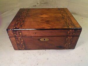 Antique inlaid Writing Slope Box , Tunbridge ware type bands