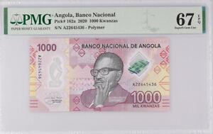 Angola 1000 Kwanzas 2020 P 162 a Polymer Superb Gem UNC PMG 67 EPQ