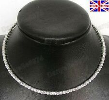 DIAMANTE RHINESTONE CRYSTAL CHOKER necklace BLING SINGLE ROW collar SILVER PLT
