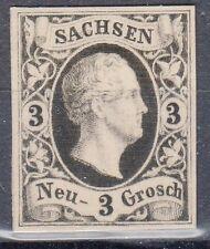 Saxony, Sc#8, VF NG, 3 Ngr Black Proof on White card, Mi#6P4, *RARE*