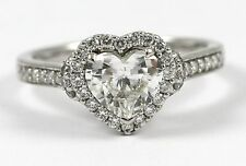 Hear Shape Diamond Engagement Ring 18k WG w/1.01ct G-color/SI1-clarity GIA