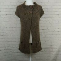 BCBG Maxazria Women Brown Knit Sweater Cape Short Sleeve Cardigan Pre-owned