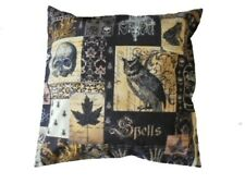 CUSHION BLACK PILLOW NEVERMORE COVER GOTHIC RAVENS HALLOWEEN SPOOKY HANDMADE NEW