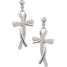 Dangly cross studs quality white gold finish earrings gift boxed UK seller
