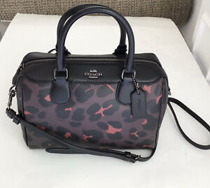 NEW Coach Mini Bennett Satchel Crossbody Bag Leopard Print Black/Oxblood NWT$295