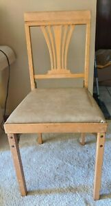 """Vintage 1950s - 60s Foldable Collapsible 33"""" Wood & Metal Dining Chair"""