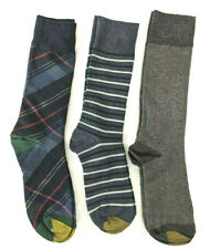 3 Pair Gold Toe Dress Socks, Mulicolor Stripes/Gray Stitch Design, Shoe Sz 7-12