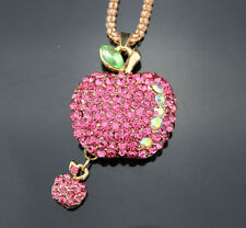 A53 Betsey Johnson Crystal Apple Pendant Sweater chain Necklace