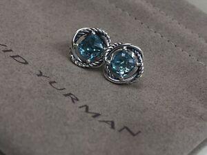 David Yurman 925 Silver 7mm Blue Topaz Infinity Earrings Earrings