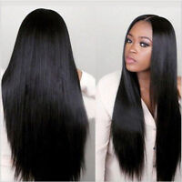 Women Safe Heat Synthetic Lace Front Wigs Black Wig Long Straight Hair Wig Party