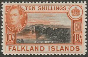 Falkland Islands 1949 KGVI 10sh Black and Red-Orange UM Mint SG162b cat £120 MNH